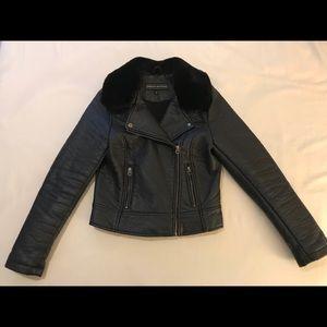 Members Only Faux-Fur Collar Moto Jacket